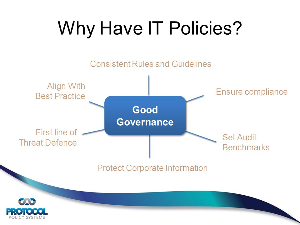 Consistent Rules and Guidelines Align With Best Practice Set Audit Benchmarks F irst line of Threat Defence Protect Corporate Information Good Governance Why Have IT Policies.