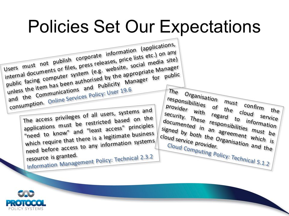 Policies Set Our Expectations Users must not publish corporate information (applications, internal documents or files, press releases, price lists etc.) on any public facing computer system (e.g.