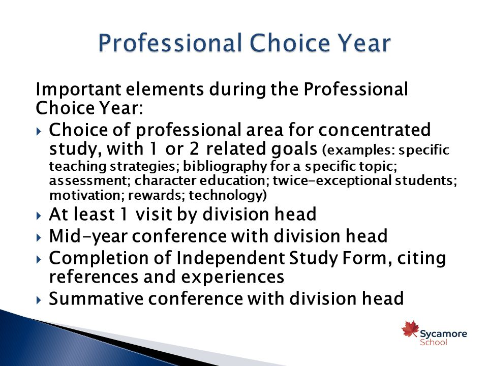 Important elements during the Professional Choice Year:  Choice of professional area for concentrated study, with 1 or 2 related goals (examples: specific teaching strategies; bibliography for a specific topic; assessment; character education; twice-exceptional students; motivation; rewards; technology)  At least 1 visit by division head  Mid-year conference with division head  Completion of Independent Study Form, citing references and experiences  Summative conference with division head