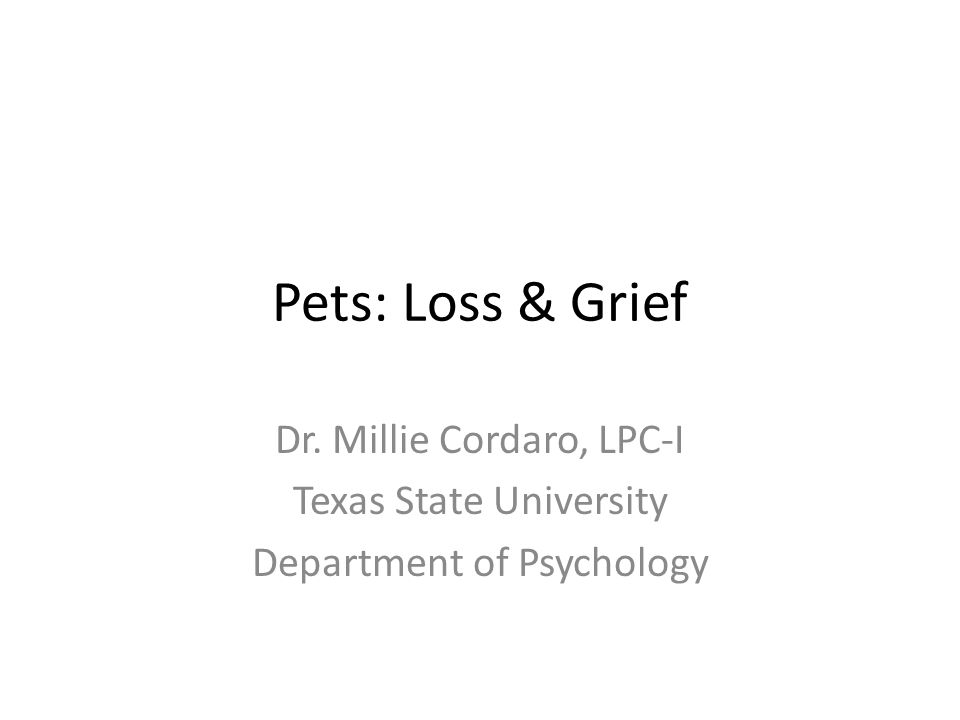 Pets: Loss & Grief Dr. Millie Cordaro, LPC-I Texas State University Department of Psychology