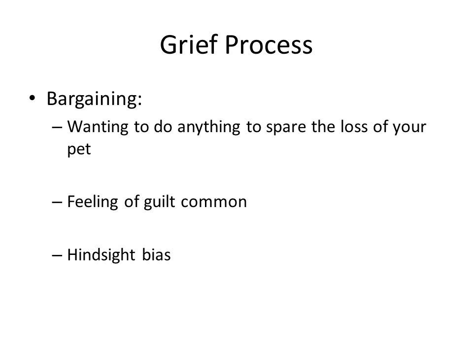 Grief Process Bargaining: – Wanting to do anything to spare the loss of your pet – Feeling of guilt common – Hindsight bias