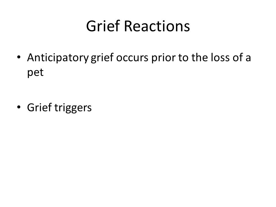 Grief Reactions Anticipatory grief occurs prior to the loss of a pet Grief triggers