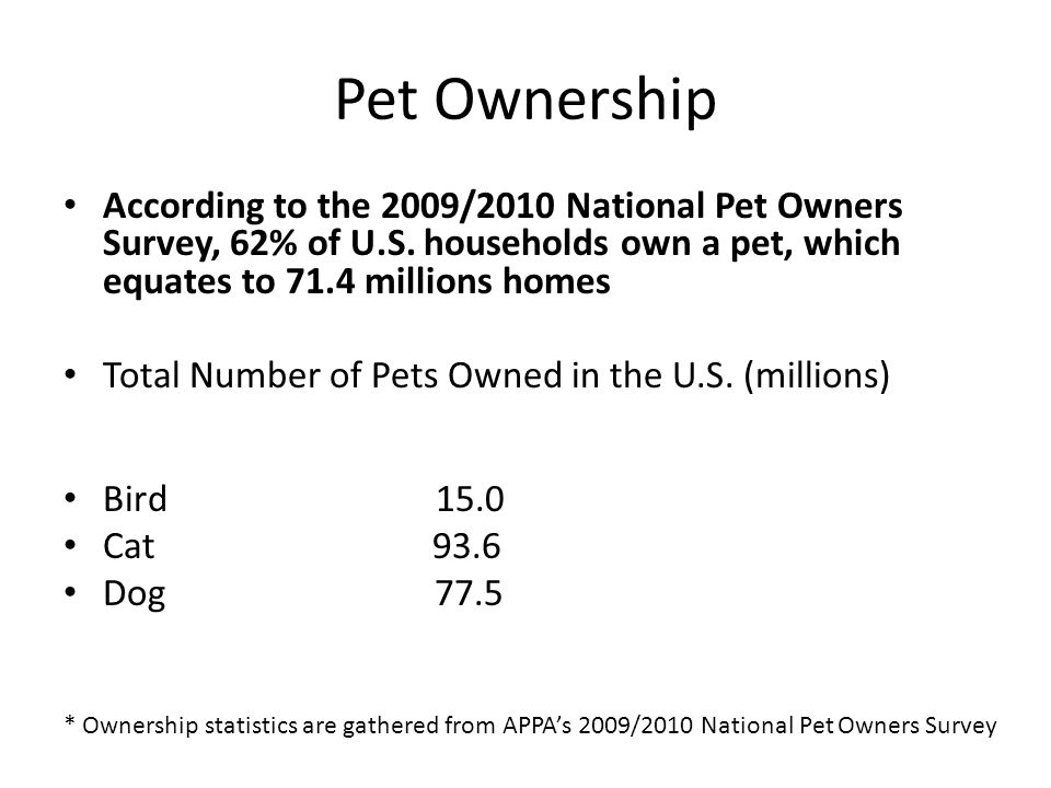 Pet Ownership According to the 2009/2010 National Pet Owners Survey, 62% of U.S. households own a pet, which equates to 71.4 millions homes Total Numb