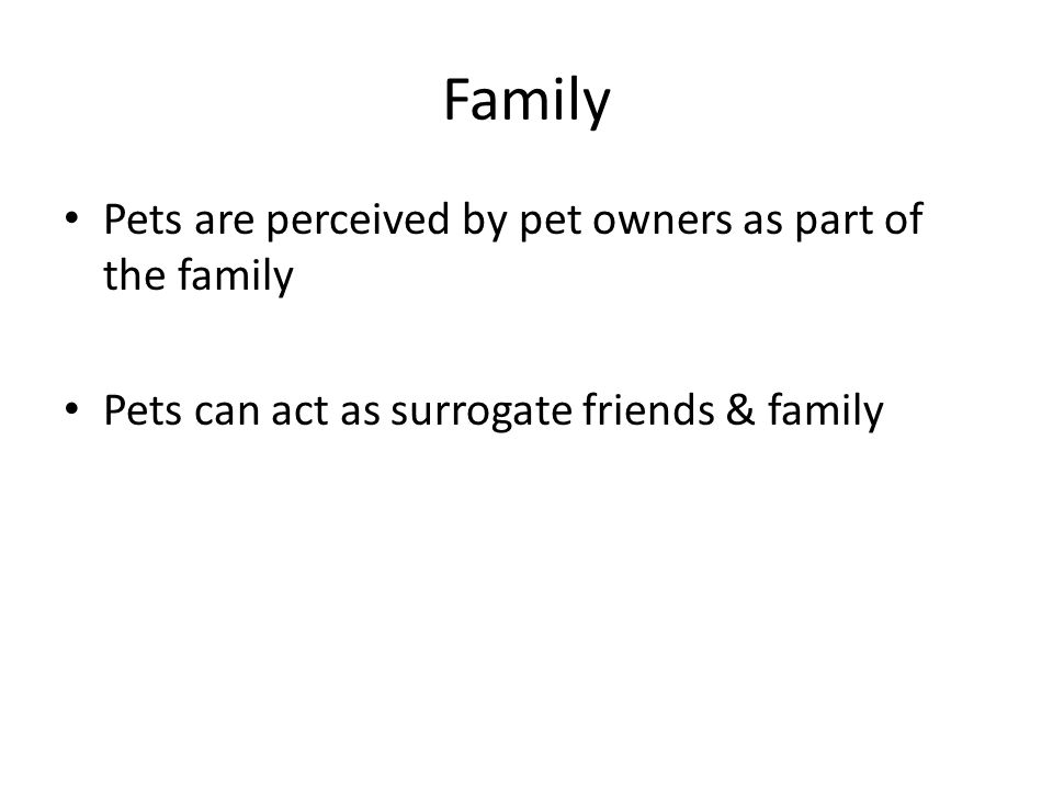 Family Pets are perceived by pet owners as part of the family Pets can act as surrogate friends & family