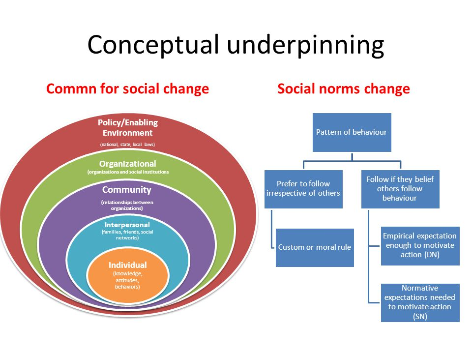 Conceptual underpinning Commn for social changeSocial norms change Pattern of behaviour Prefer to follow irrespective of others Custom or moral rule Follow if they belief others follow behaviour Empirical expectation enough to motivate action (DN) Normative expectations needed to motivate action (SN) Policy/Enabling Environment (national, state, local laws) Organizational (organizations and social institutions Community (relationships between organizations) Interpersonal (families, friends, social networks) Individual (knowledge, attitudes, behaviors)
