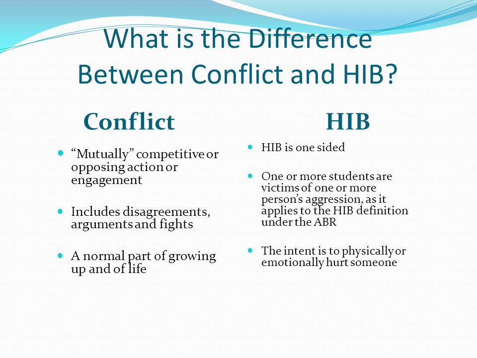 """What is the Difference Between Conflict and HIB? ConflictHIB """" Mutually"""" competitive or opposing action or engagement Includes disagreements, argument"""