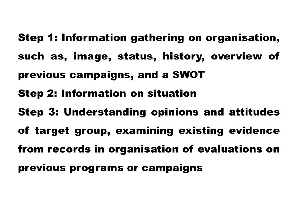 Step 1: Information gathering on organisation, such as, image, status, history, overview of previous campaigns, and a SWOT Step 2: Information on situ
