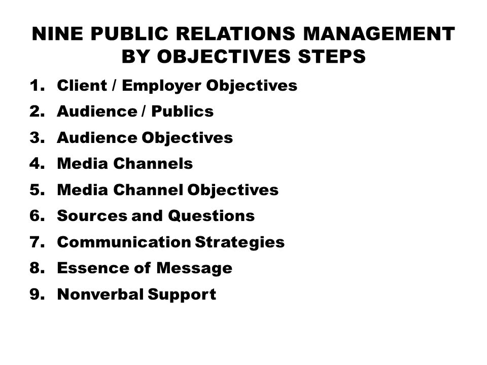 NINE PUBLIC RELATIONS MANAGEMENT BY OBJECTIVES STEPS 1.Client / Employer Objectives 2.Audience / Publics 3.Audience Objectives 4.Media Channels 5.Medi