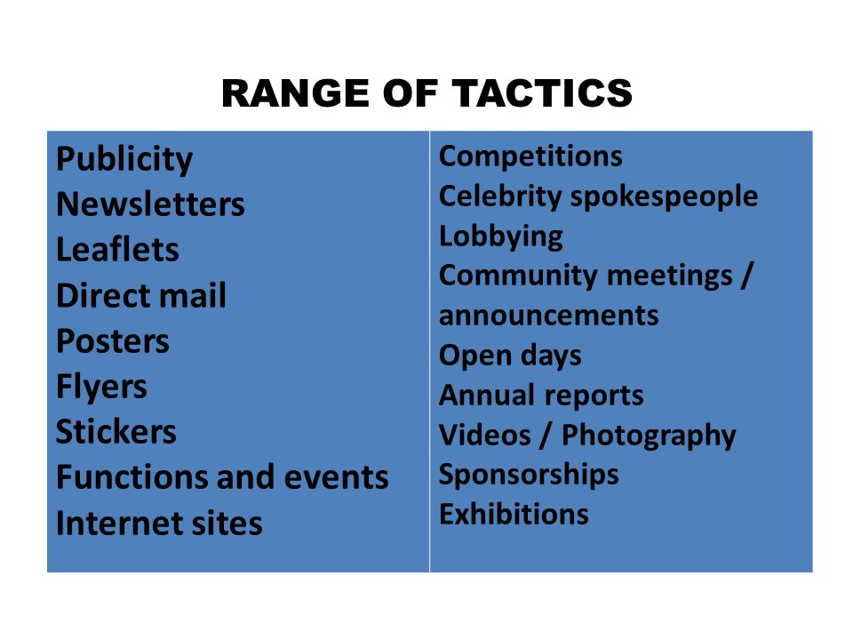 RANGE OF TACTICS Publicity Newsletters Leaflets Direct mail Posters Flyers Stickers Functions and events Internet sites Competitions Celebrity spokesp
