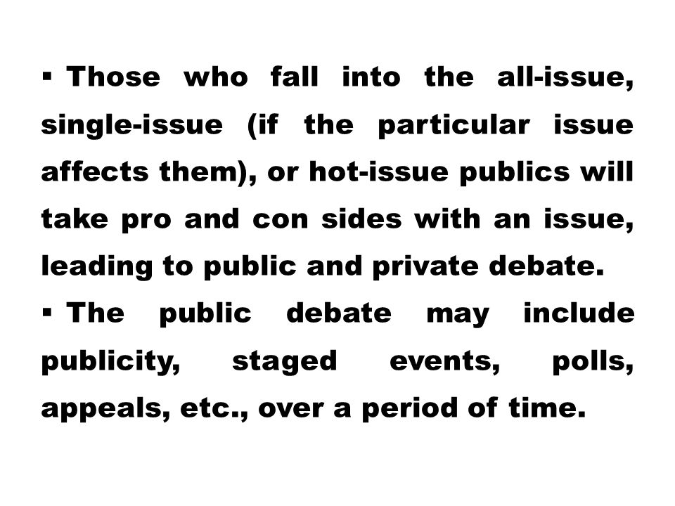  Those who fall into the all-issue, single-issue (if the particular issue affects them), or hot-issue publics will take pro and con sides with an issue, leading to public and private debate.