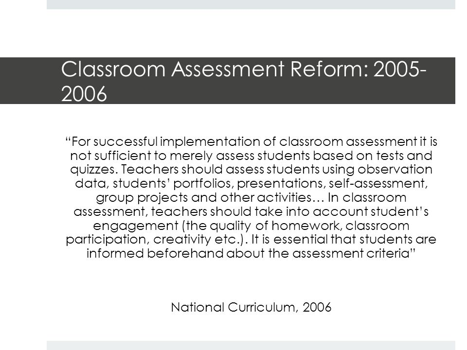 Classroom Assessment in 1984