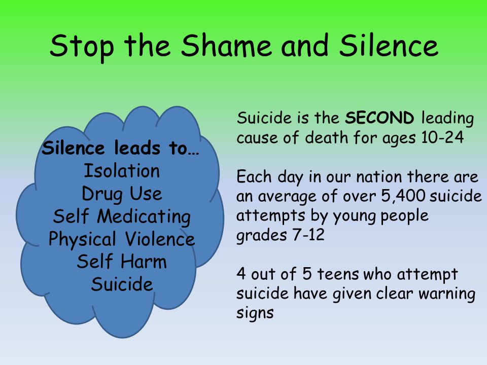 Stop the Shame and Silence Silence leads to… Isolation Drug Use Self Medicating Physical Violence Self Harm Suicide Suicide is the SECOND leading cause of death for ages 10-24 Each day in our nation there are an average of over 5,400 suicide attempts by young people grades 7-12 4 out of 5 teens who attempt suicide have given clear warning signs