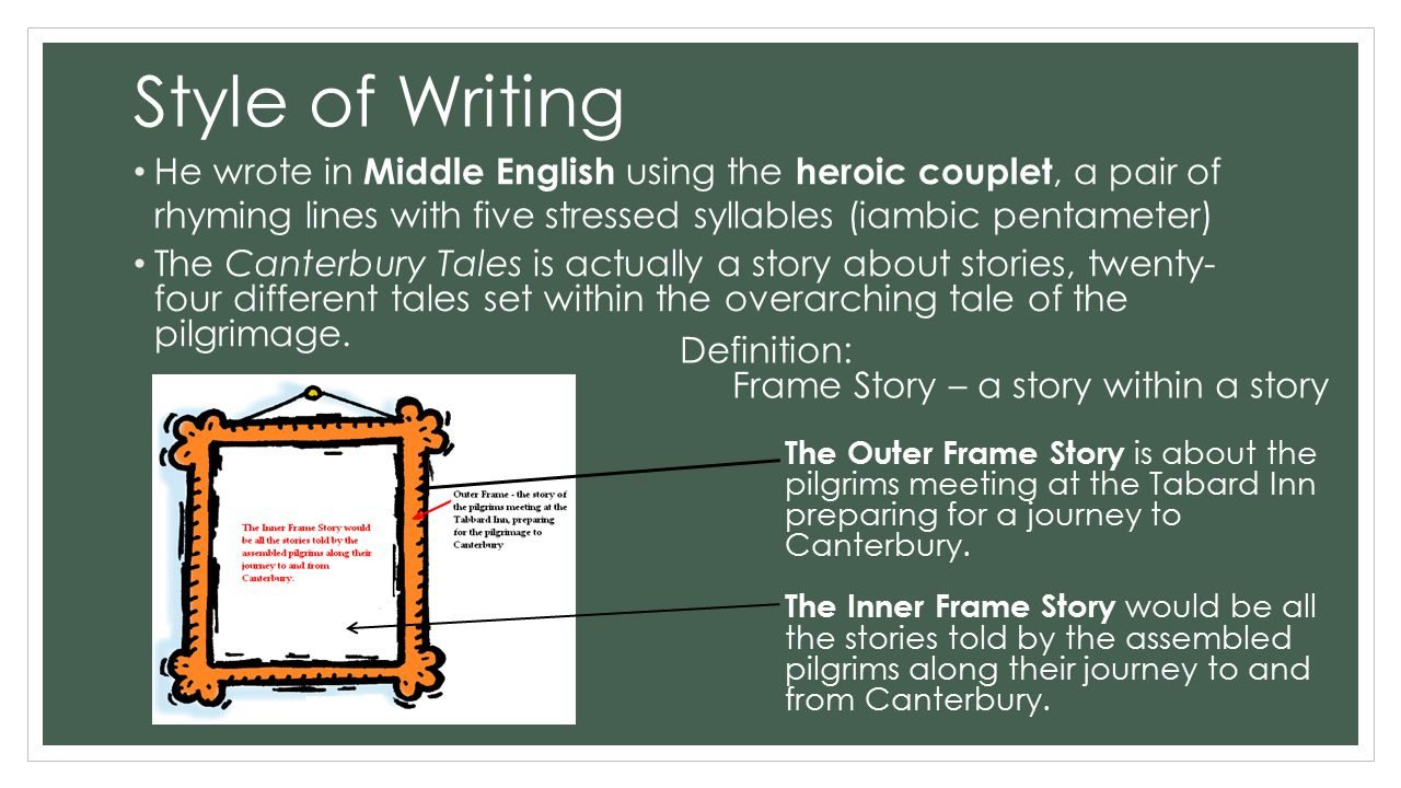Style of Writing He wrote in Middle English using the heroic couplet, a pair of rhyming lines with five stressed syllables (iambic pentameter) The Canterbury Tales is actually a story about stories, twenty- four different tales set within the overarching tale of the pilgrimage.