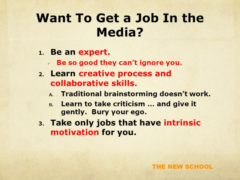 THE NEW SCHOOL Want To Get a Job In the Media. 1.