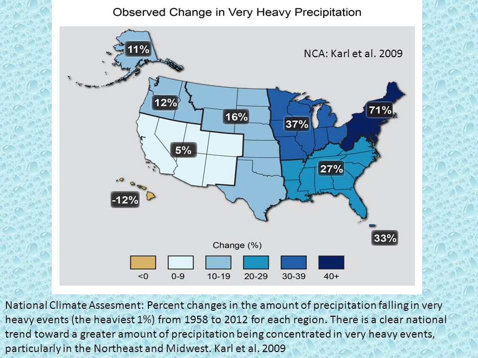 NCA: Karl et al. 2009 National Climate Assesment: Percent changes in the amount of precipitation falling in very heavy events (the heaviest 1%) from 1