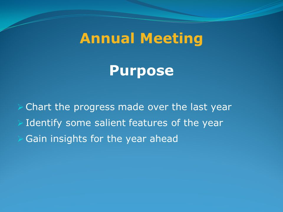 Annual Meeting Purpose  Chart the progress made over the last year  Identify some salient features of the year  Gain insights for the year ahead