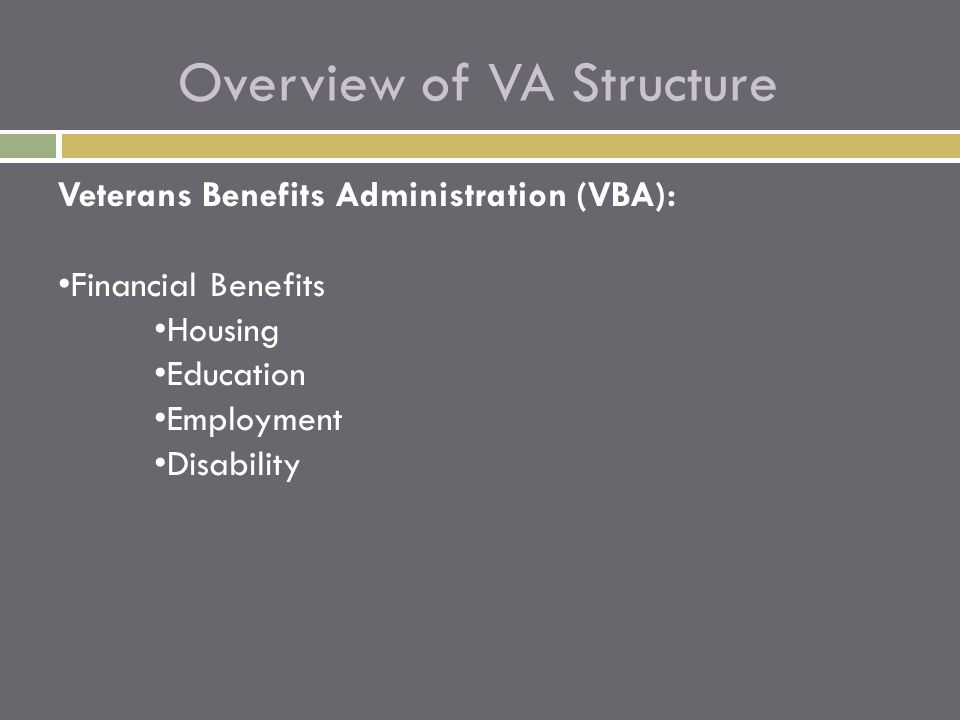 Overview of VA Structure Veterans Benefits Administration (VBA): Financial Benefits Housing Education Employment Disability