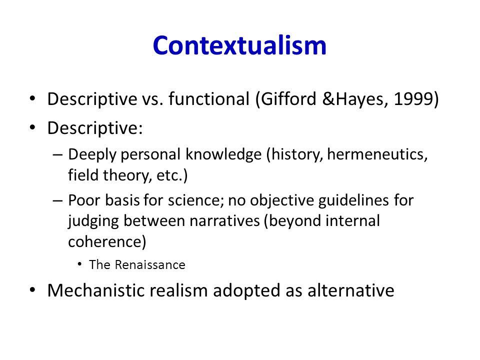 Contextualism Descriptive vs.