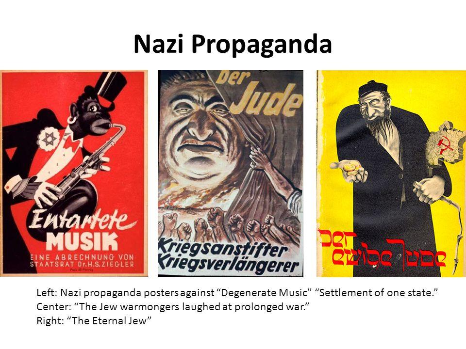 "Nazi Propaganda Left: Nazi propaganda posters against ""Degenerate Music"" ""Settlement of one state."" Center: ""The Jew warmongers laughed at prolonged w"