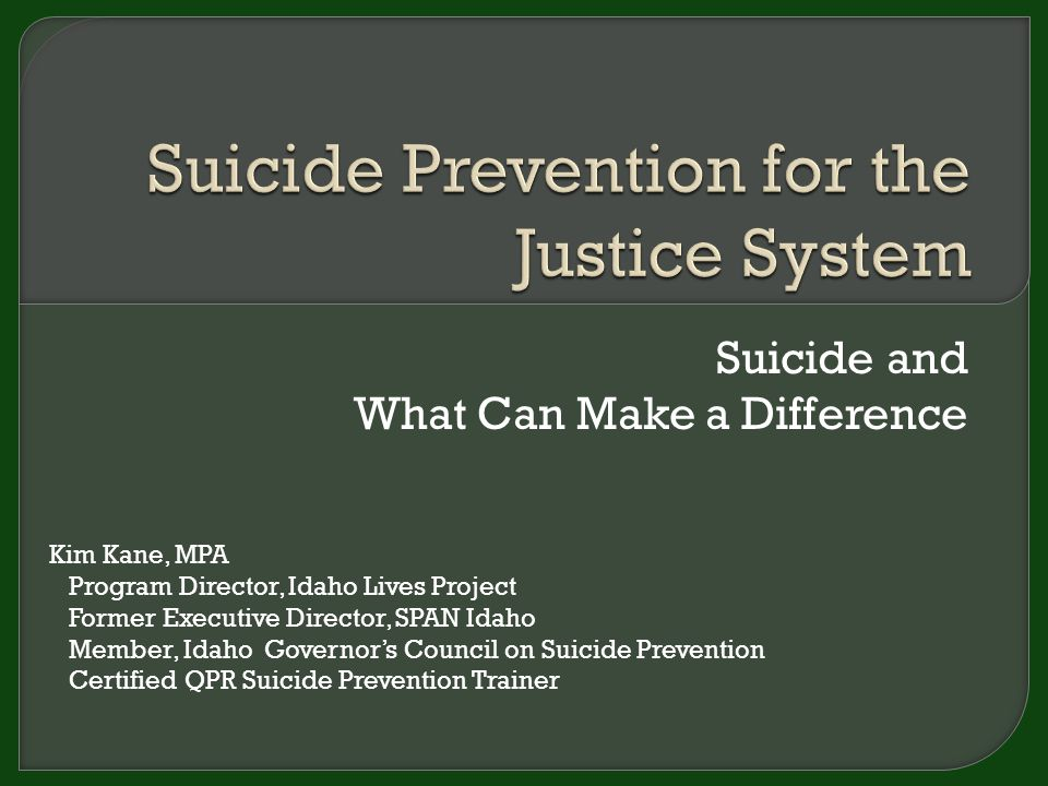 Suicide and What Can Make a Difference Kim Kane, MPA Program Director, Idaho Lives Project Former Executive Director, SPAN Idaho Member, Idaho Governor's Council on Suicide Prevention Certified QPR Suicide Prevention Trainer