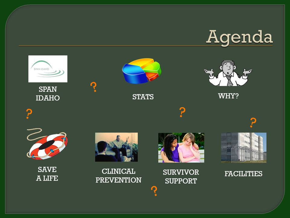 STATS WHY? SPAN IDAHO ? ? ? ? ? SAVE A LIFE SURVIVOR SUPPORT CLINICAL PREVENTION FACILITIES