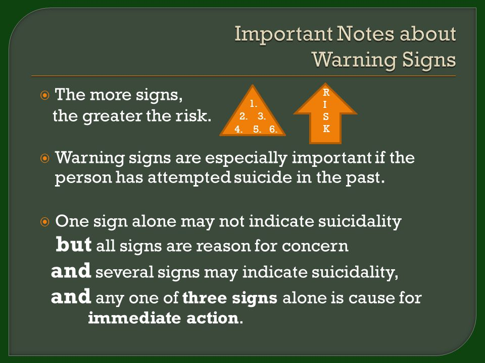  The more signs, the greater the risk.