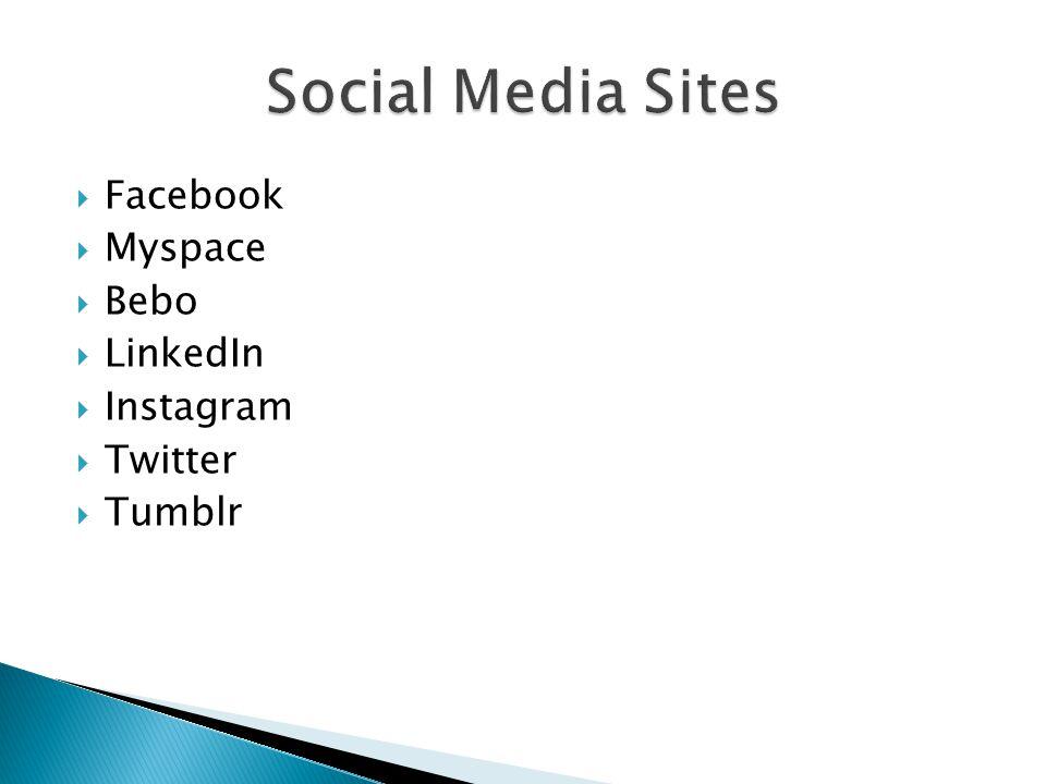  Facebook  Myspace  Bebo  LinkedIn  Instagram  Twitter  Tumblr