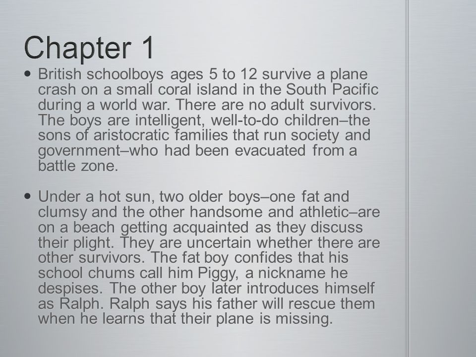 British schoolboys ages 5 to 12 survive a plane crash on a small coral island in the South Pacific during a world war.