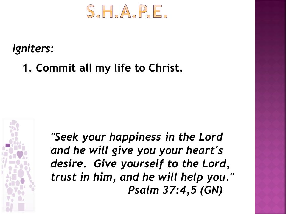 1. Commit all my life to Christ.