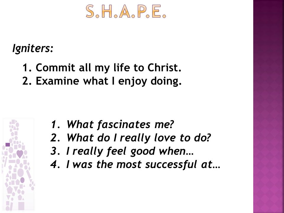 1.Commit all my life to Christ. 2. Examine what I enjoy doing.