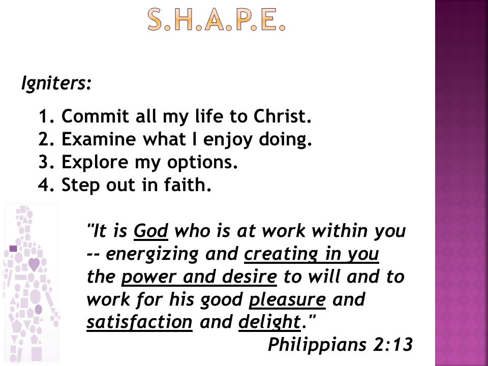 1. Commit all my life to Christ. 2. Examine what I enjoy doing.