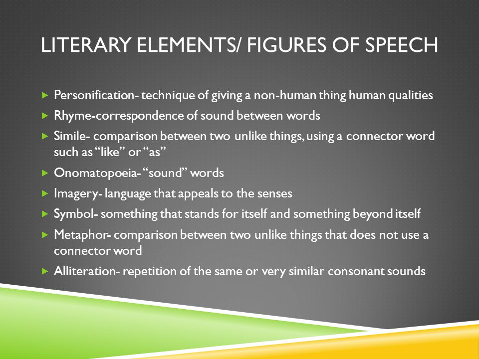 LITERARY ELEMENTS/ FIGURES OF SPEECH  Personification- technique of giving a non-human thing human qualities  Rhyme-correspondence of sound between words  Simile- comparison between two unlike things, using a connector word such as like or as  Onomatopoeia- sound words  Imagery- language that appeals to the senses  Symbol- something that stands for itself and something beyond itself  Metaphor- comparison between two unlike things that does not use a connector word  Alliteration- repetition of the same or very similar consonant sounds