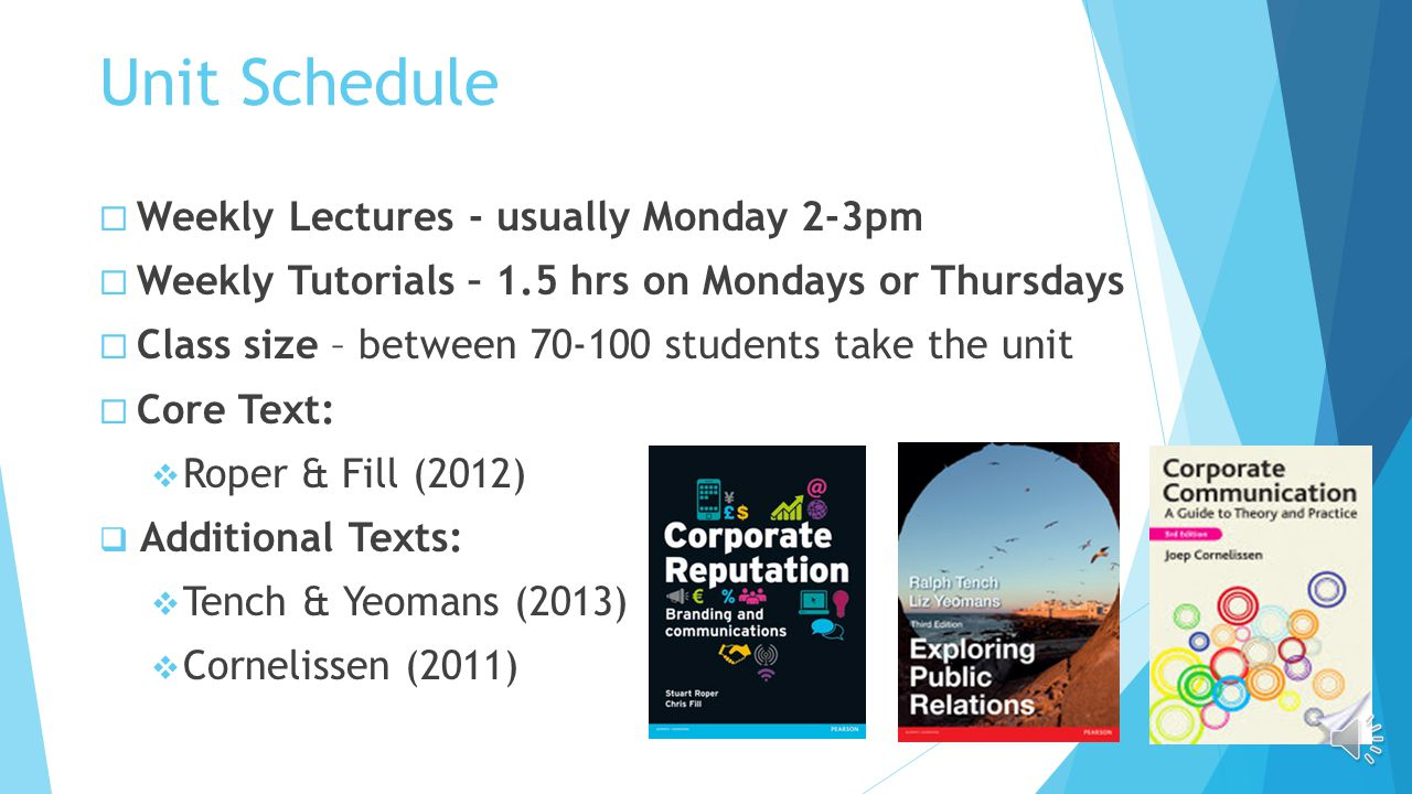 Unit Schedule  Weekly Lectures - usually Monday 2-3pm  Weekly Tutorials – 1.5 hrs on Mondays or Thursdays  Class size – between 70-100 students take the unit  Core Text:  Roper & Fill (2012)  Additional Texts:  Tench & Yeomans (2013)  Cornelissen (2011)