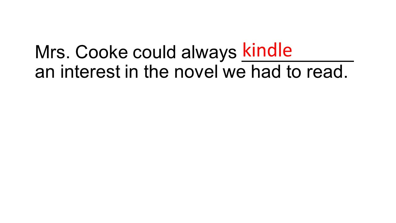 Mrs. Cooke could always ___________ an interest in the novel we had to read. kindle