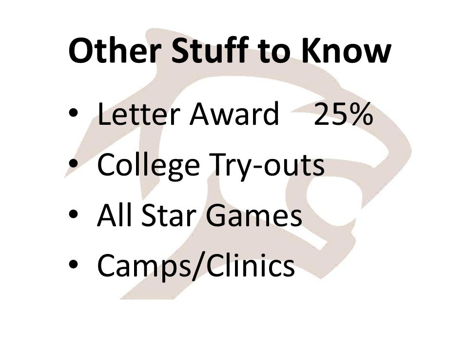 Other Stuff to Know Letter Award 25% College Try-outs All Star Games Camps/Clinics