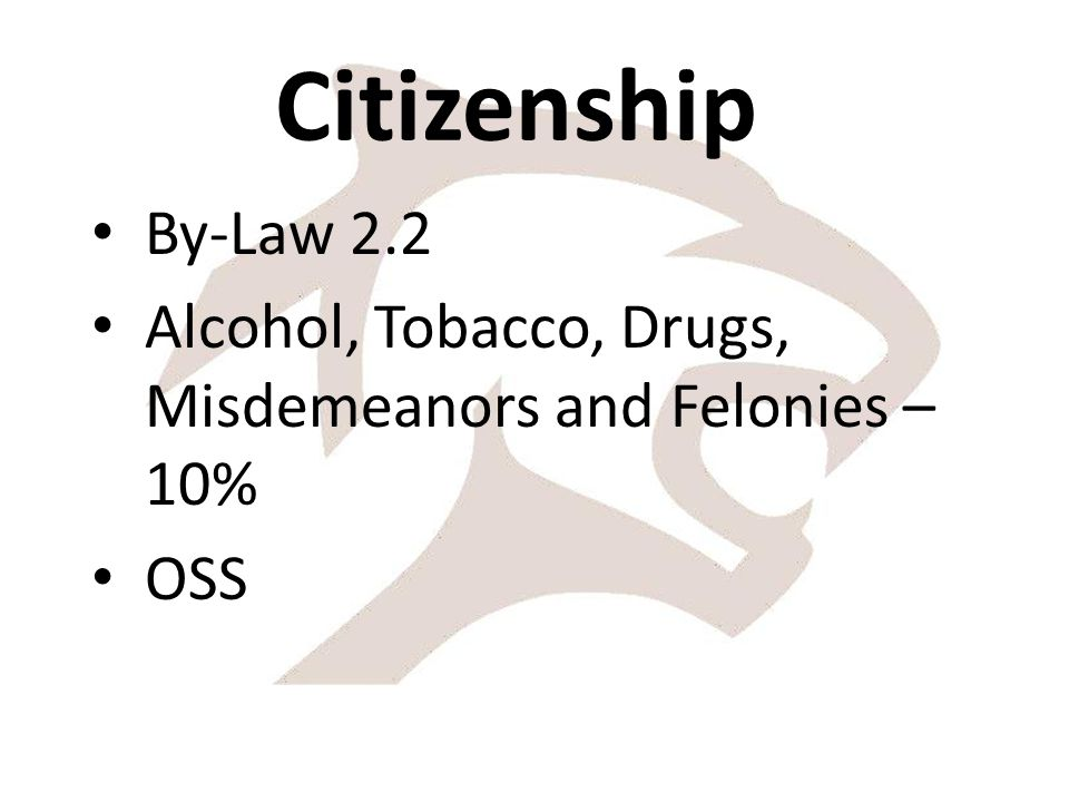 Citizenship By-Law 2.2 Alcohol, Tobacco, Drugs, Misdemeanors and Felonies – 10% OSS
