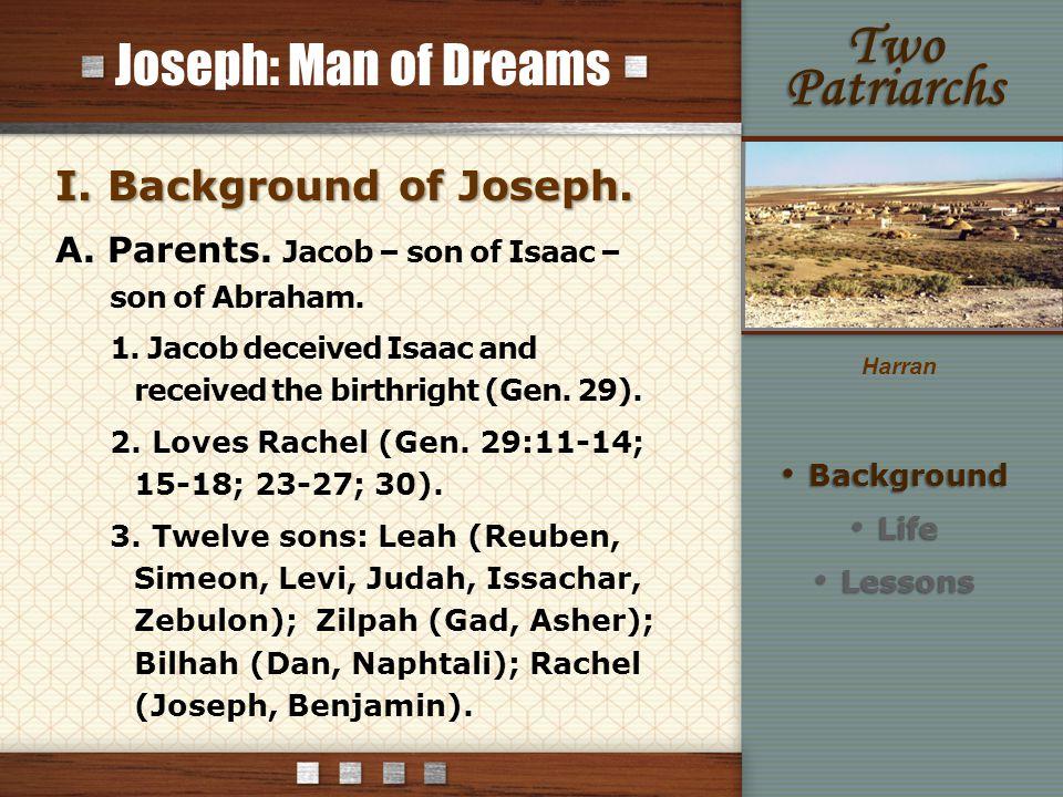 Joseph: Man of Dreams I. Background of Joseph. A.