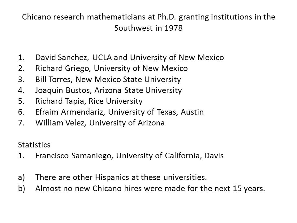 Chicano research mathematicians at Ph.D.