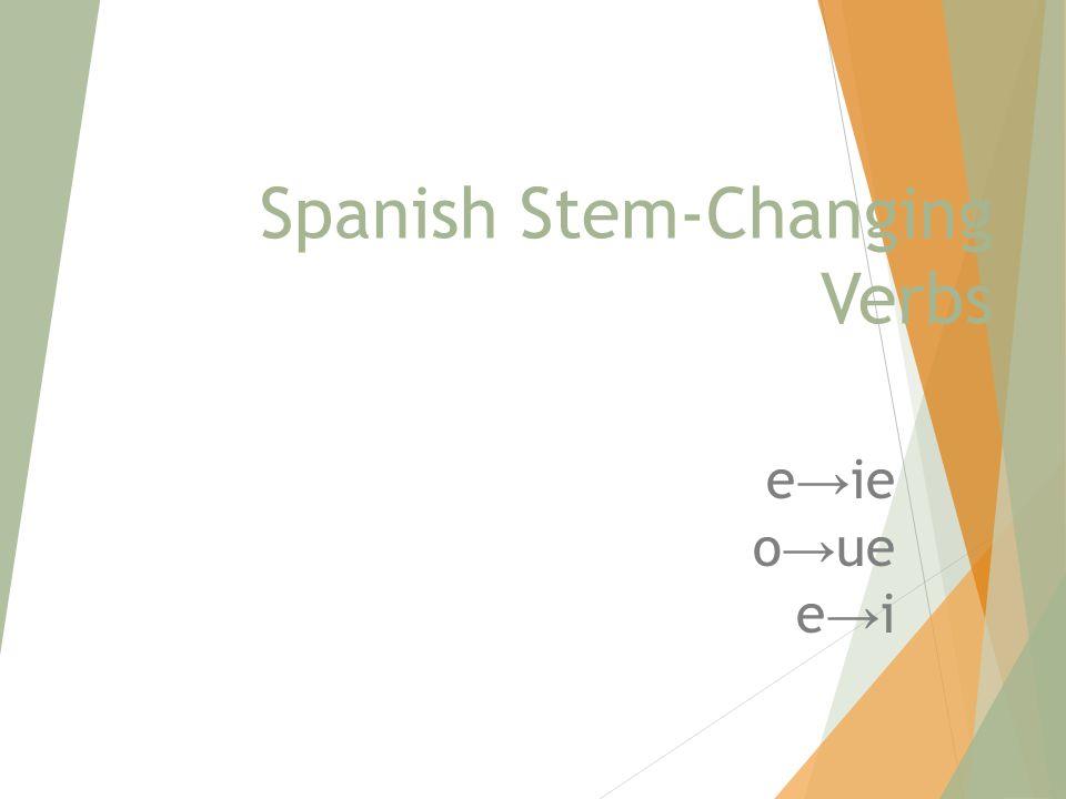 Spanish Stem-Changing Verbs e → ie o → ue e → i