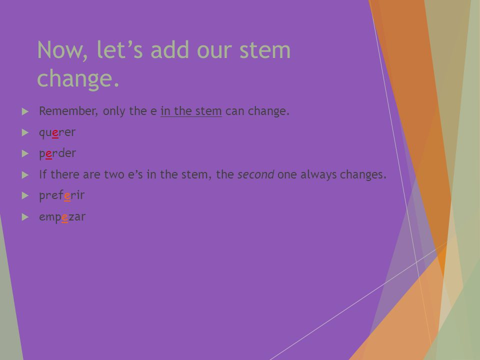 Now, let's add our stem change.  Remember, only the e in the stem can change.