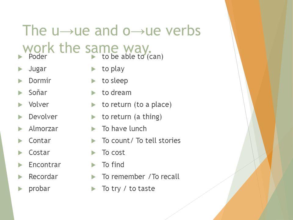 The u → ue and o → ue verbs work the same way.