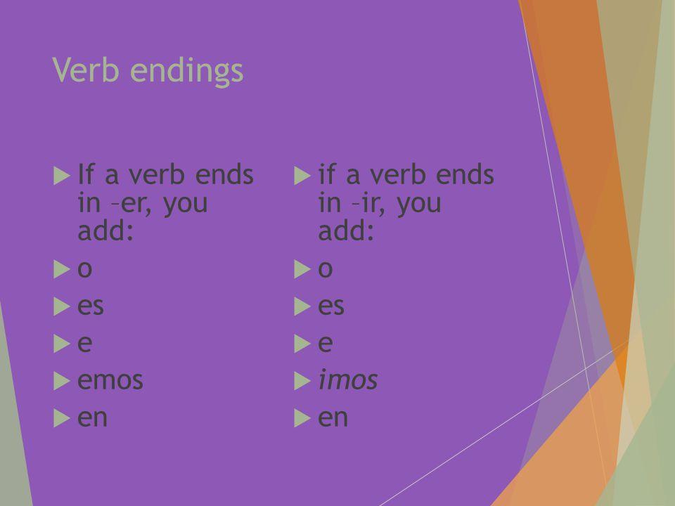 Verb endings  If a verb ends in –er, you add: oo  es ee  emos  en  if a verb ends in –ir, you add: oo  es ee  imos  en