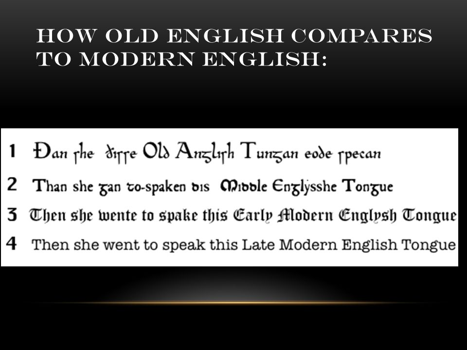 HOW OLD ENGLISH COMPARES TO MODERN ENGLISH: