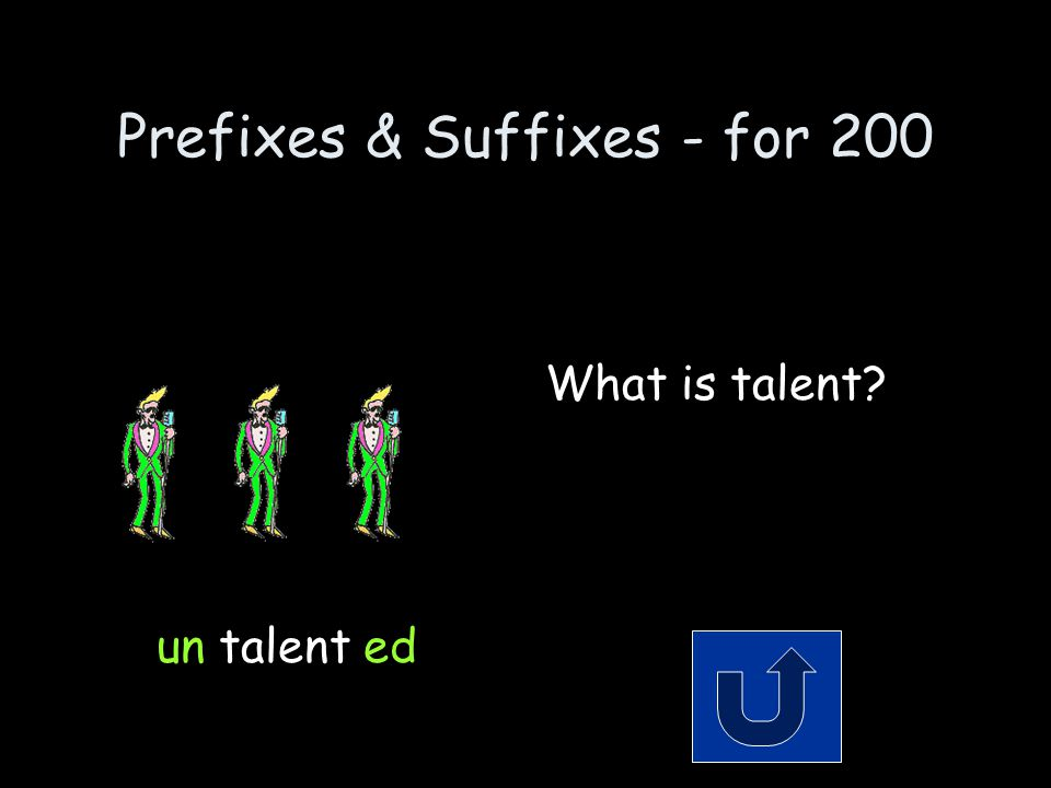 Prefixes & Suffixes - for 200 Remember to phrase your answer in the form of a question.