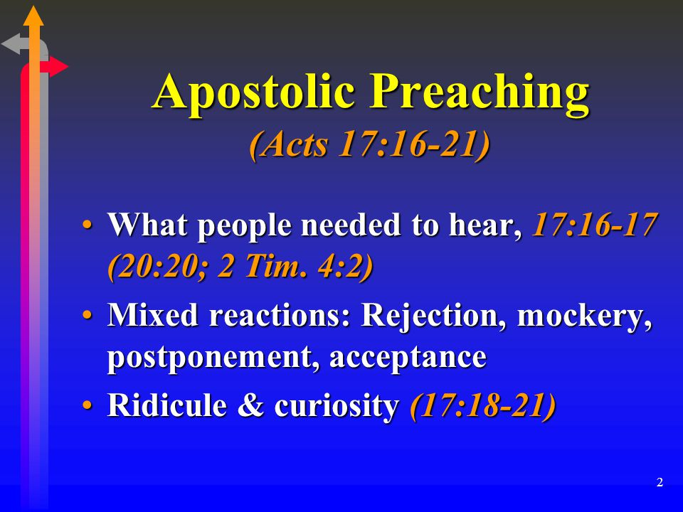 2 Apostolic Preaching (Acts 17:16-21) What people needed to hear, 17:16-17 (20:20; 2 Tim.
