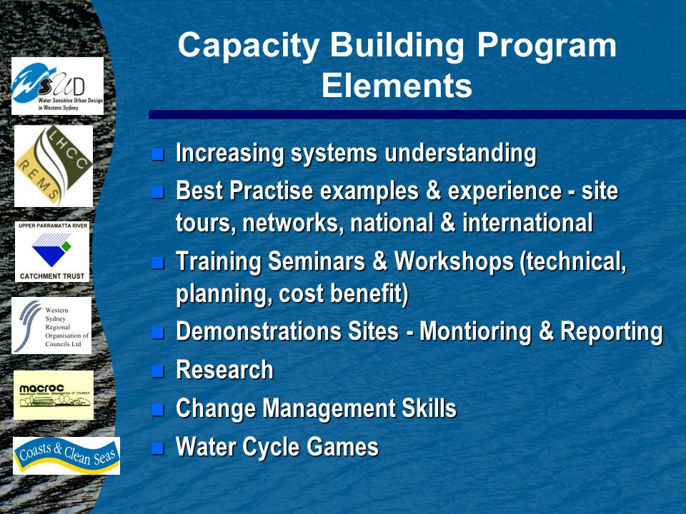 Capacity Building Program Elements n Increasing systems understanding n Best Practise examples & experience - site tours, networks, national & international n Training Seminars & Workshops (technical, planning, cost benefit) n Demonstrations Sites - Montioring & Reporting n Research n Change Management Skills Water Cycle Games Water Cycle Games