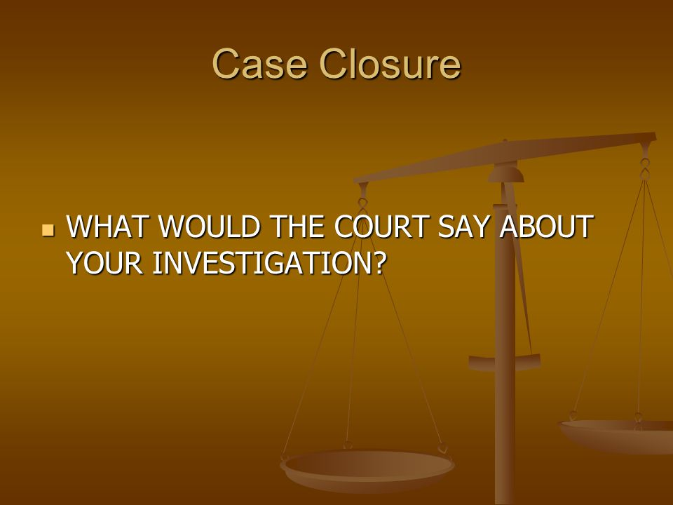 WHAT WOULD THE COURT SAY ABOUT YOUR INVESTIGATION.