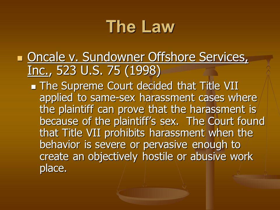 Oncale v. Sundowner Offshore Services, Inc., 523 U.S.