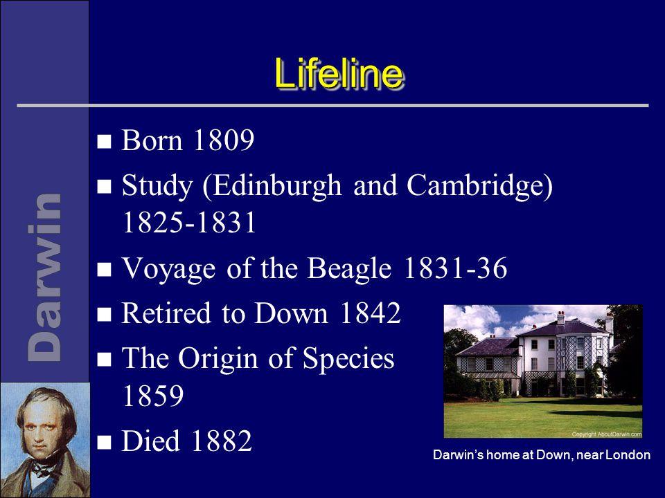 LifelineLifeline n Born 1809 n Study (Edinburgh and Cambridge) 1825-1831 n Voyage of the Beagle 1831-36 n Retired to Down 1842 n The Origin of Species 1859 n Died 1882 Darwin's home at Down, near London