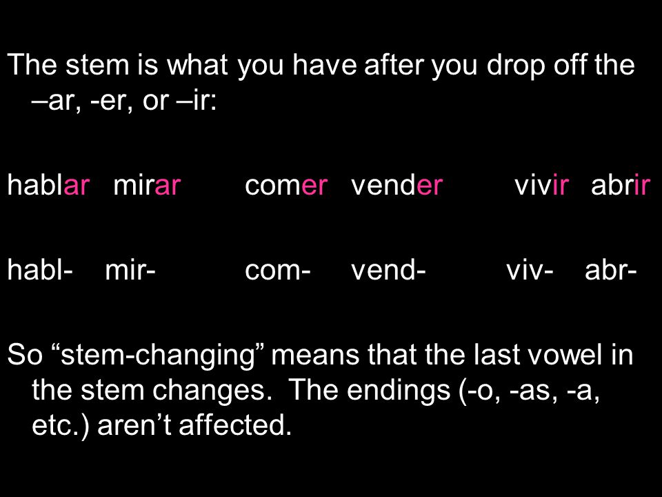 The stem is what you have after you drop off the –ar, -er, or –ir: hablar mirar comer vender vivir abrir habl- mir- com- vend- viv- abr- So stem-changing means that the last vowel in the stem changes.